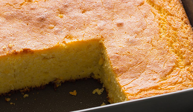 Buttermilk Cornbread recipe in the tray
