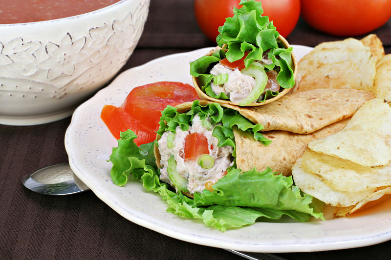 Toasted Tuna, Egg and Salad Wrap