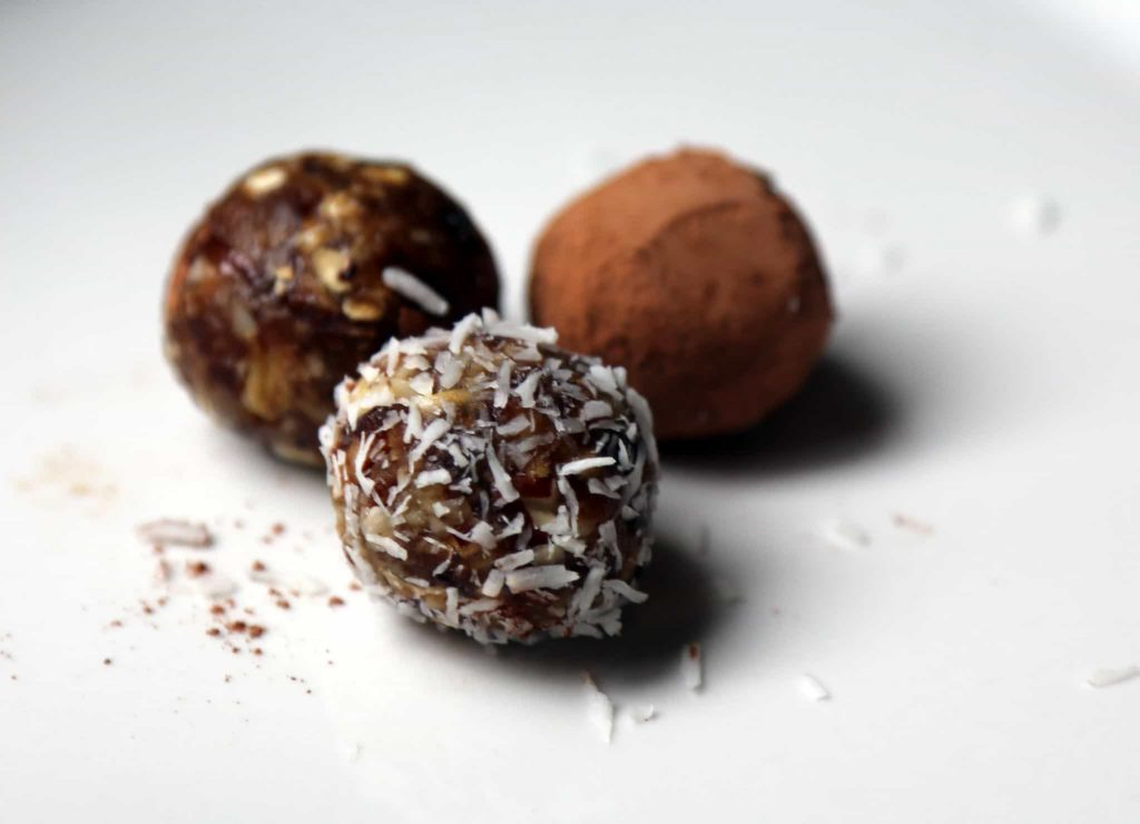 Chocolate bliss balls with almonds