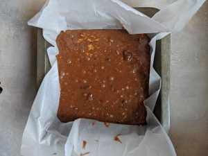 baked nutty brownie out of oven