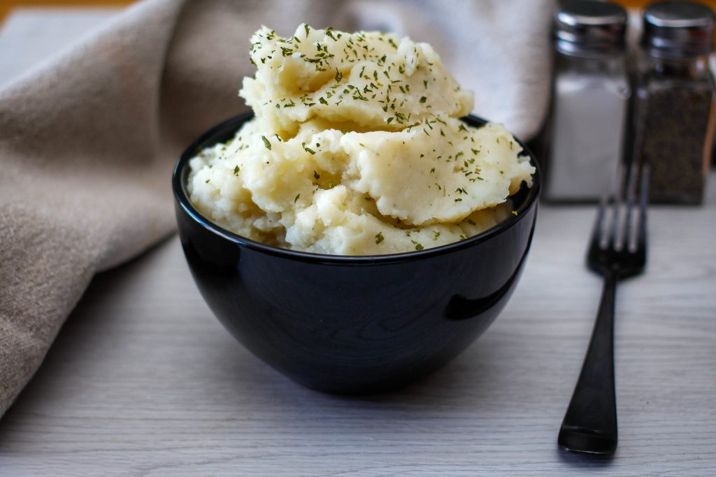 Crockpot mashed potato in a bowl.