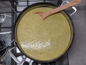 Zucchini and Leek Soup being prepared