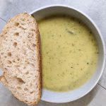 Zucchini and Leek Soup Served