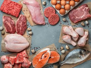 meat, poultry, eggs and fish